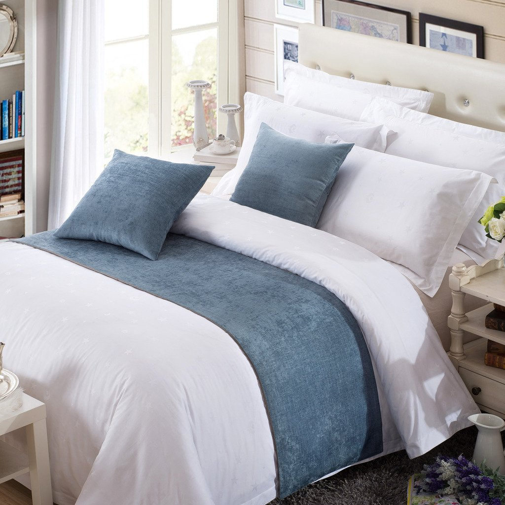 OSVINO Solid Color Chenille Soft No Fading Modern Bed Runner Bedding Scarf Protection, Blue 180X50cm for 120cm Bed