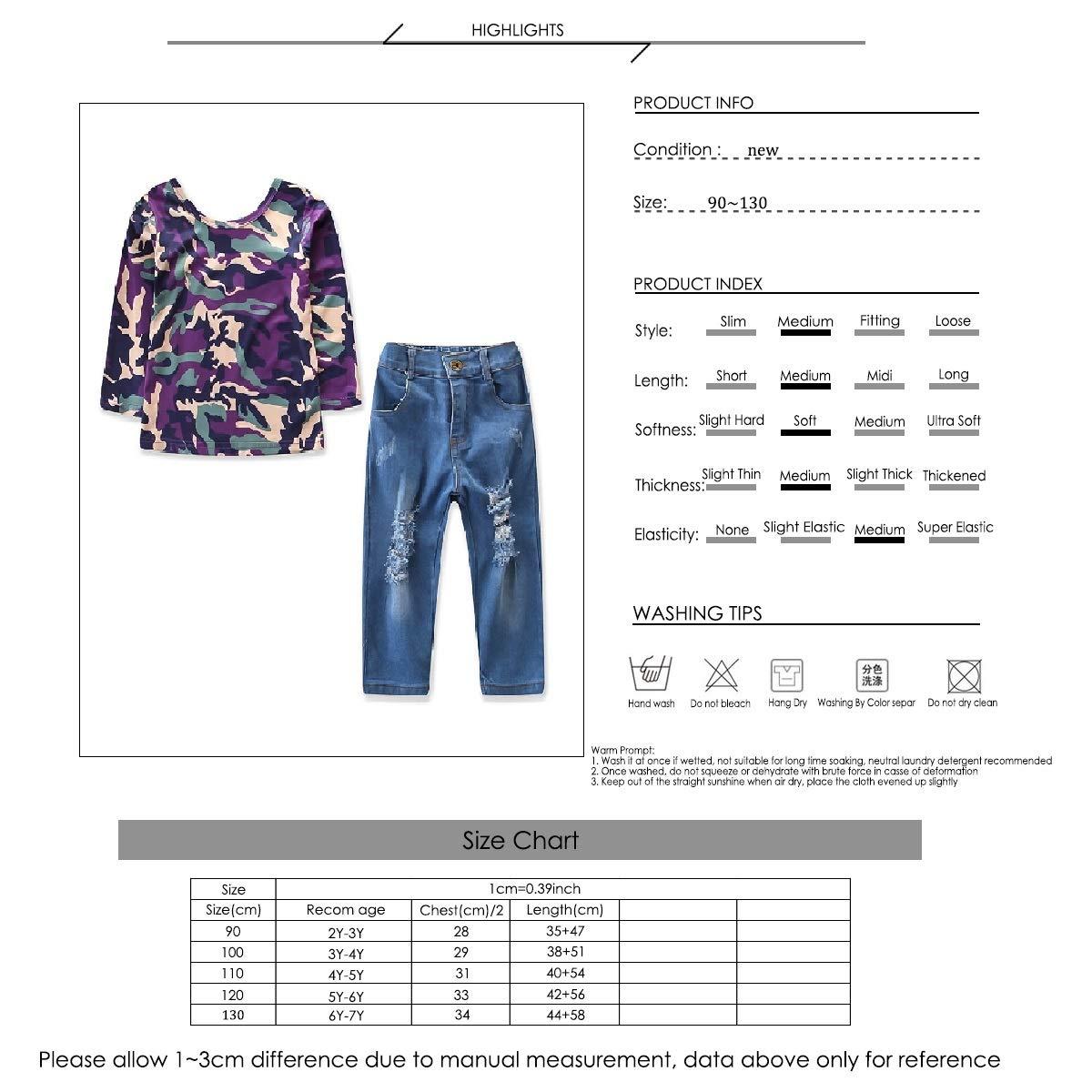 puseky 2pcs//Set Kids Girls Fashion Long Sleeve Camouflage Shirt Top Hole Pants Outfits Set