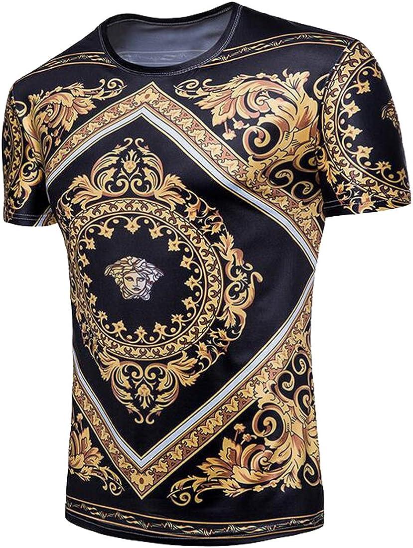 Fubotevic Men Solid Short Sleeve V-Neck Summer Slim Fit T-Shirt Tee