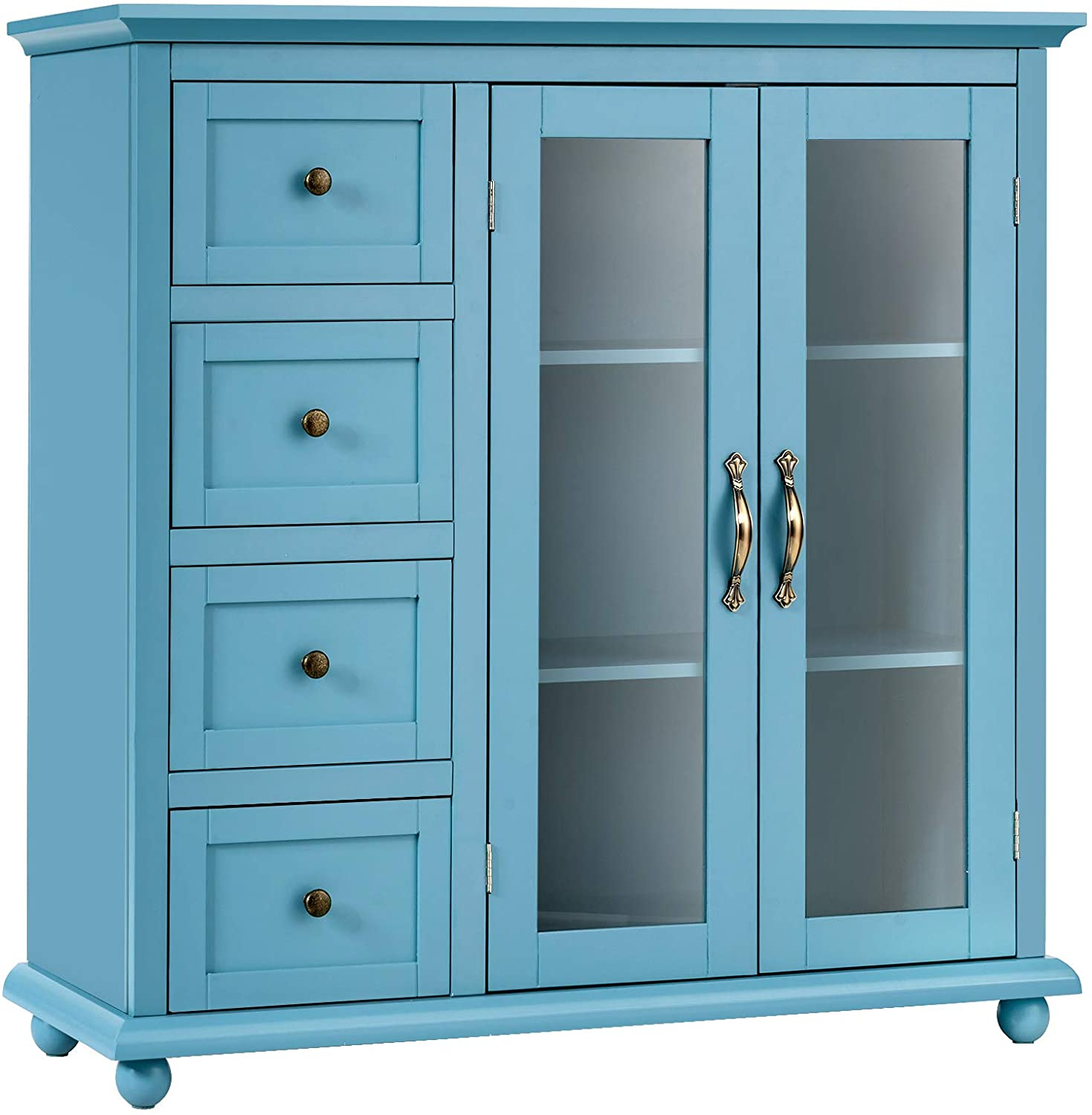 Giantex Buffet Sideboard, Wood Storage Cabinet, Console Table with 4 Drawers, 2-Door Credenza, Living Room Dining Room Furniture, Buffet Server, Kitchen Pantry Cupboard (Blue)
