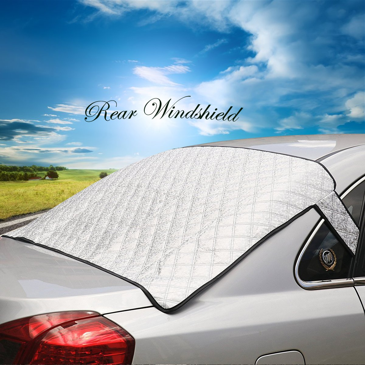 Geila Thickened Car Windscreen Snow Cover, Snow Cover Sun Shade Cover Sun Aluminum Shield Screen Protector for All Season (Set of Front & Vehicle Rear Windshield) Geila Co. Ltd