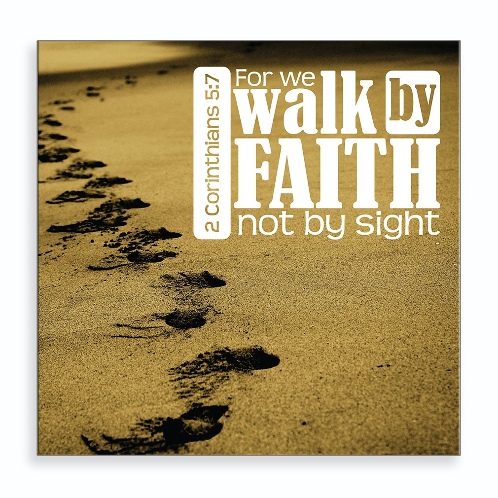 Amazon.com: Footprints on Sand with Message For We Walk By Faith Not ...