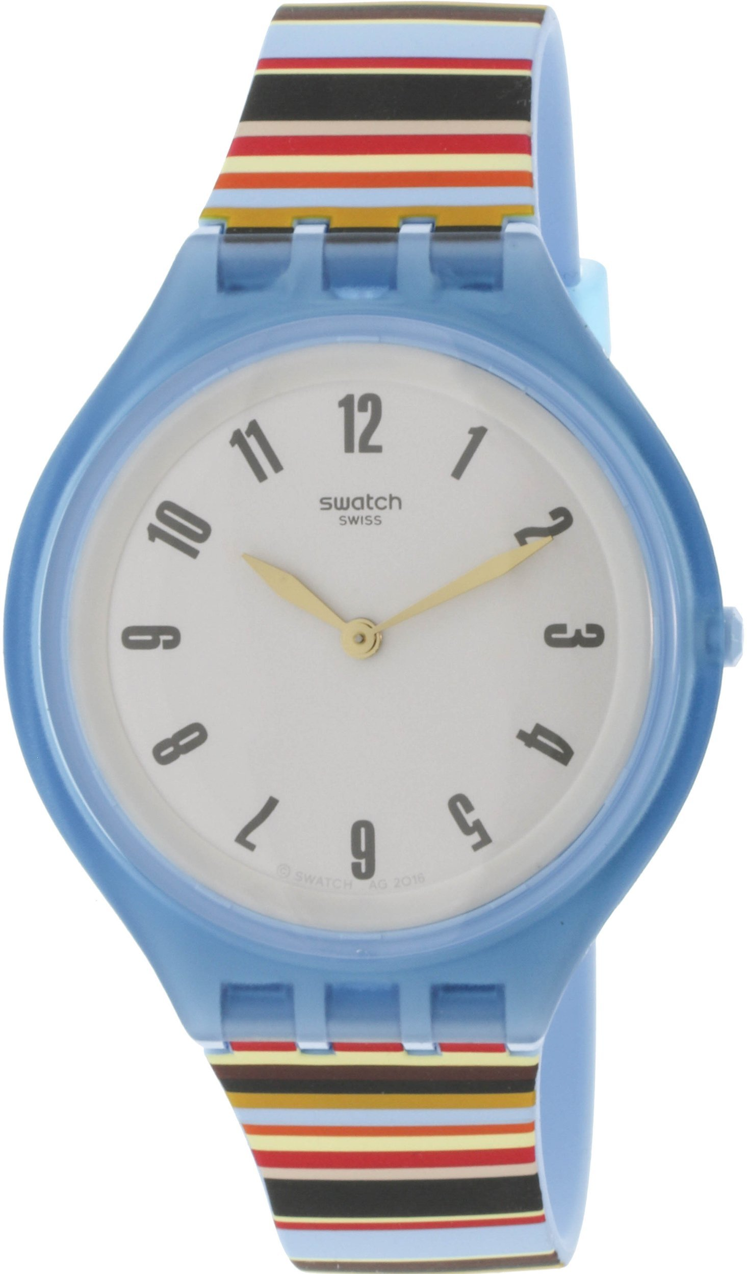 Swatch Skin Skinstripes Grey Dial Silicone Strap Unisex Watch SVUL100