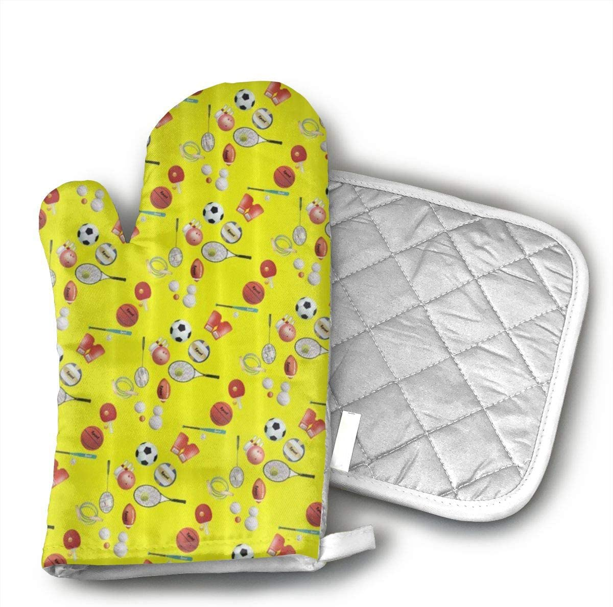 Party of Ball Baseball Tennis Soccer Bowling Kitchen Oven Mitts and Pot Holders, Hot Pads and Cotton Microwave Oven Mitts Heat Resistant for Men Women