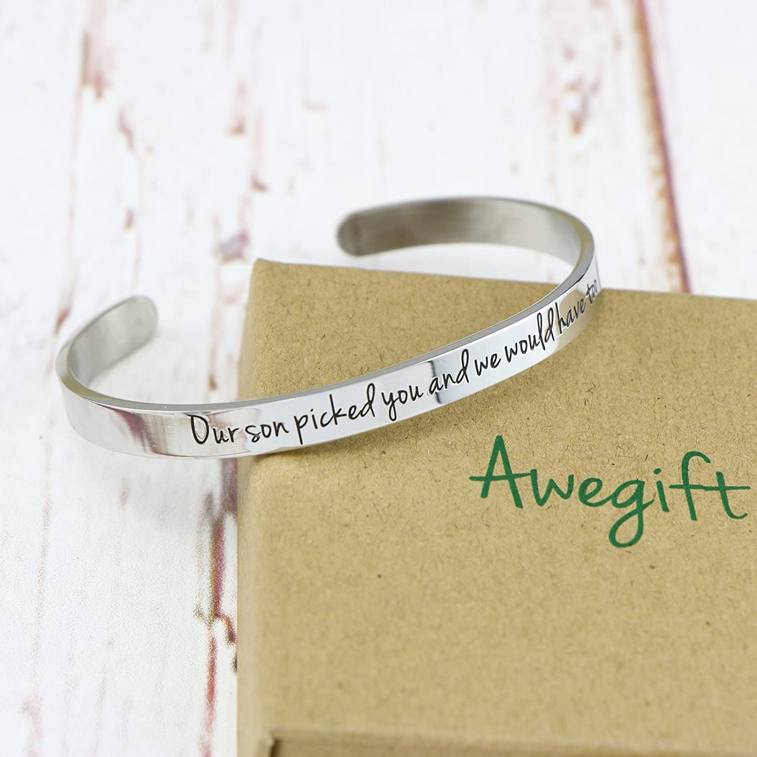 Awegift Daughter in Law Gift Bangle Bracelet for Girls Our son picked you and we would have too