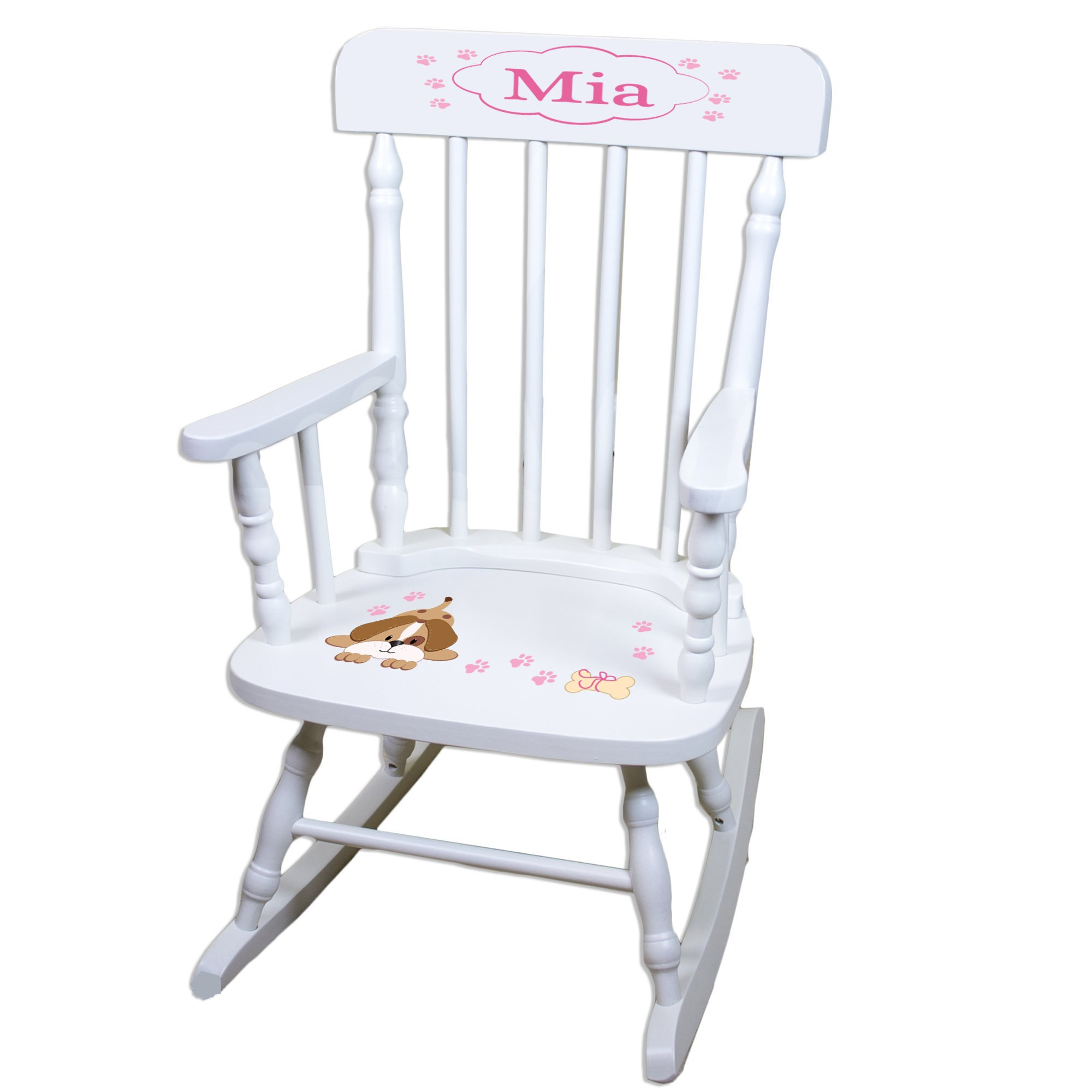 Personalized Pink Puppy White Childrens Rocking Chair