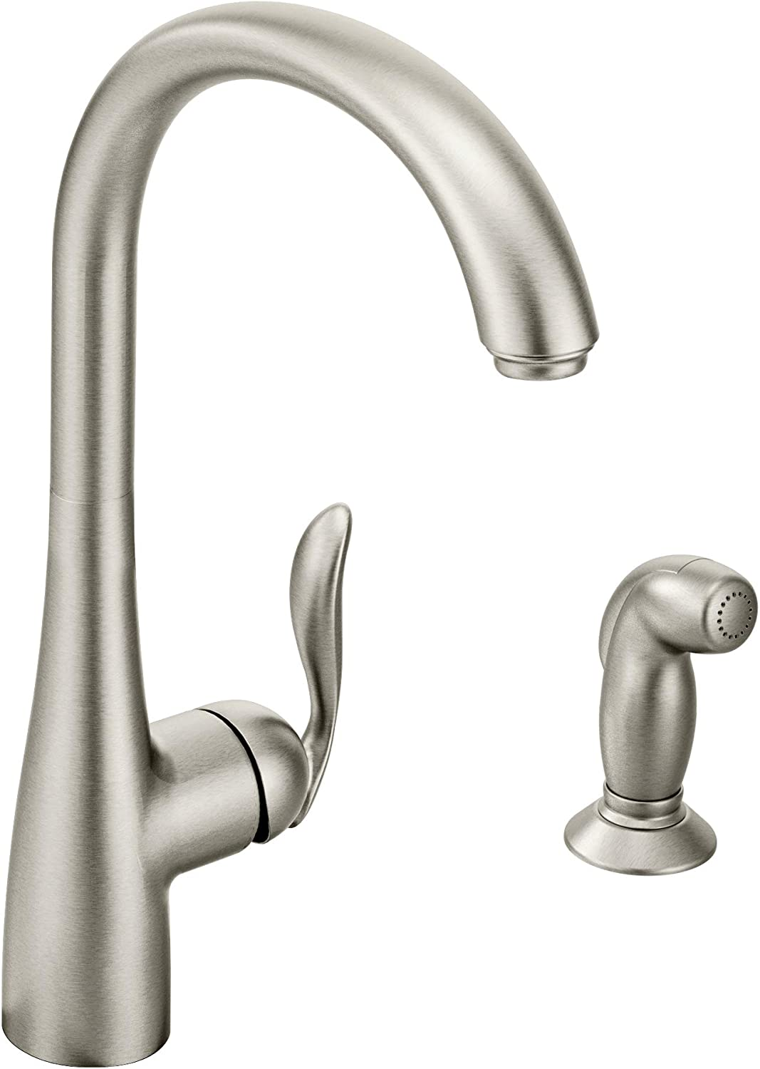 Moen 7790SRS Arbor One-Handle High-Arc Kitchen Faucet with Side Spray, Spot Resistant Stainless