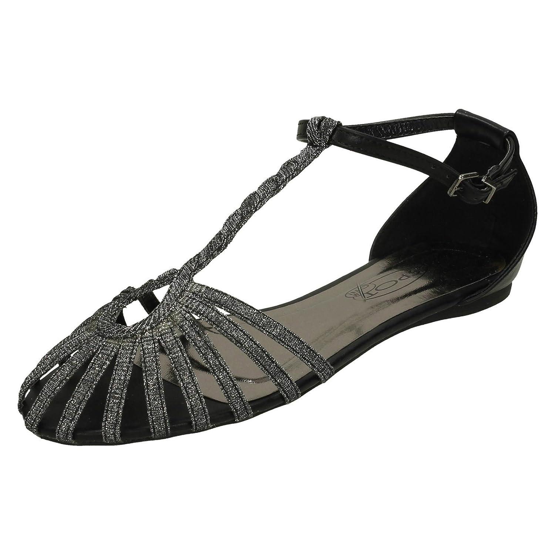 Ladies Spot On T Bar Plaited Glitter Strap Sandals B00LPER7HE