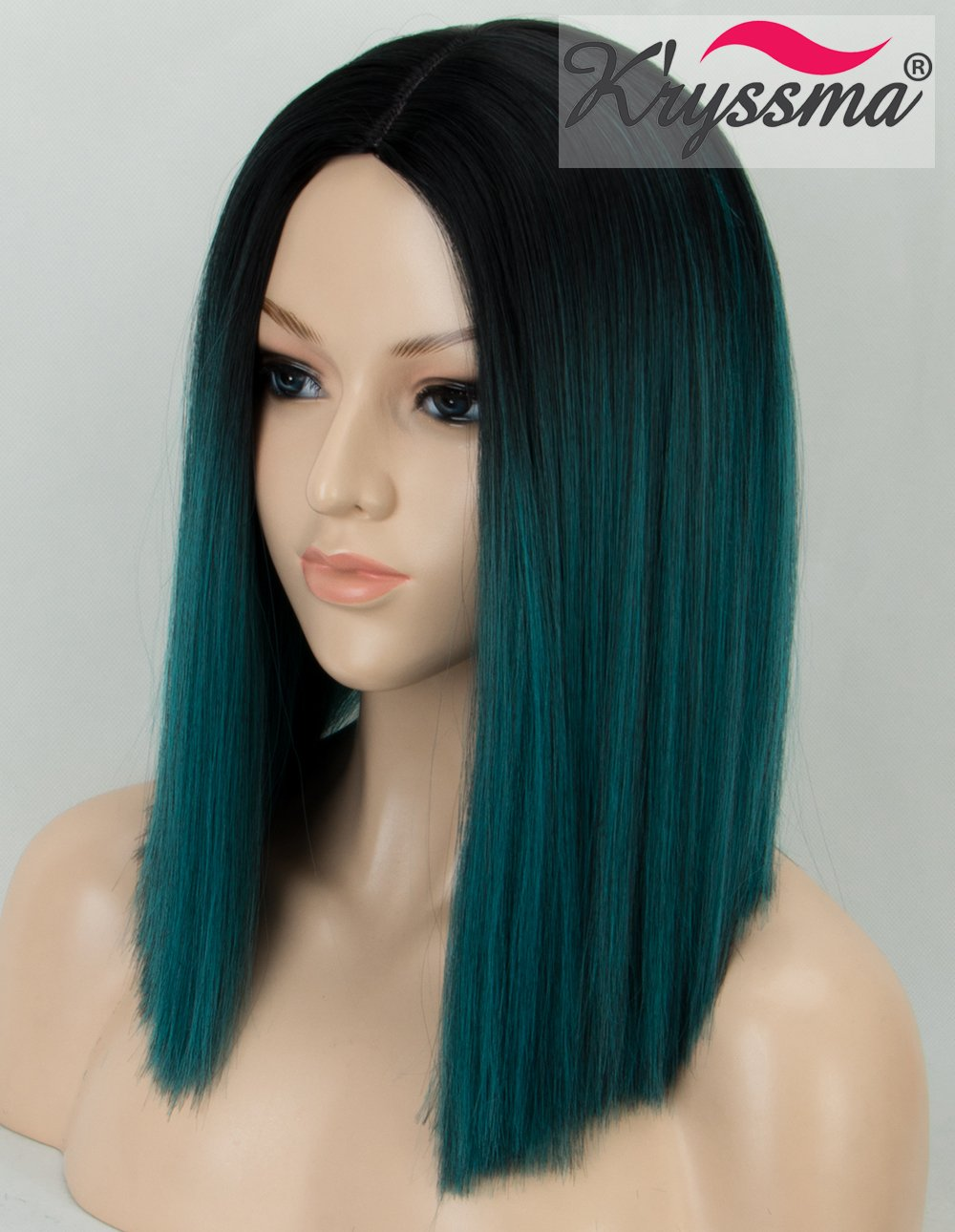 K'ryssma KÀryssma Ombre Green Synthetic Wig with Black Roots Short Bob Wig with Middle Parting Dark Green Heat Resistant Hair Wig for Women Full Machine Made