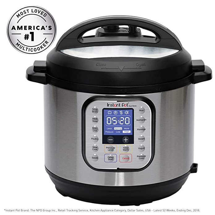 Instant Pot Duo Nova 8 quart 7-in-1 One-Touch Multi-Use Programmable Pressure Cooker with New Easy Seal Lid – Latest Model