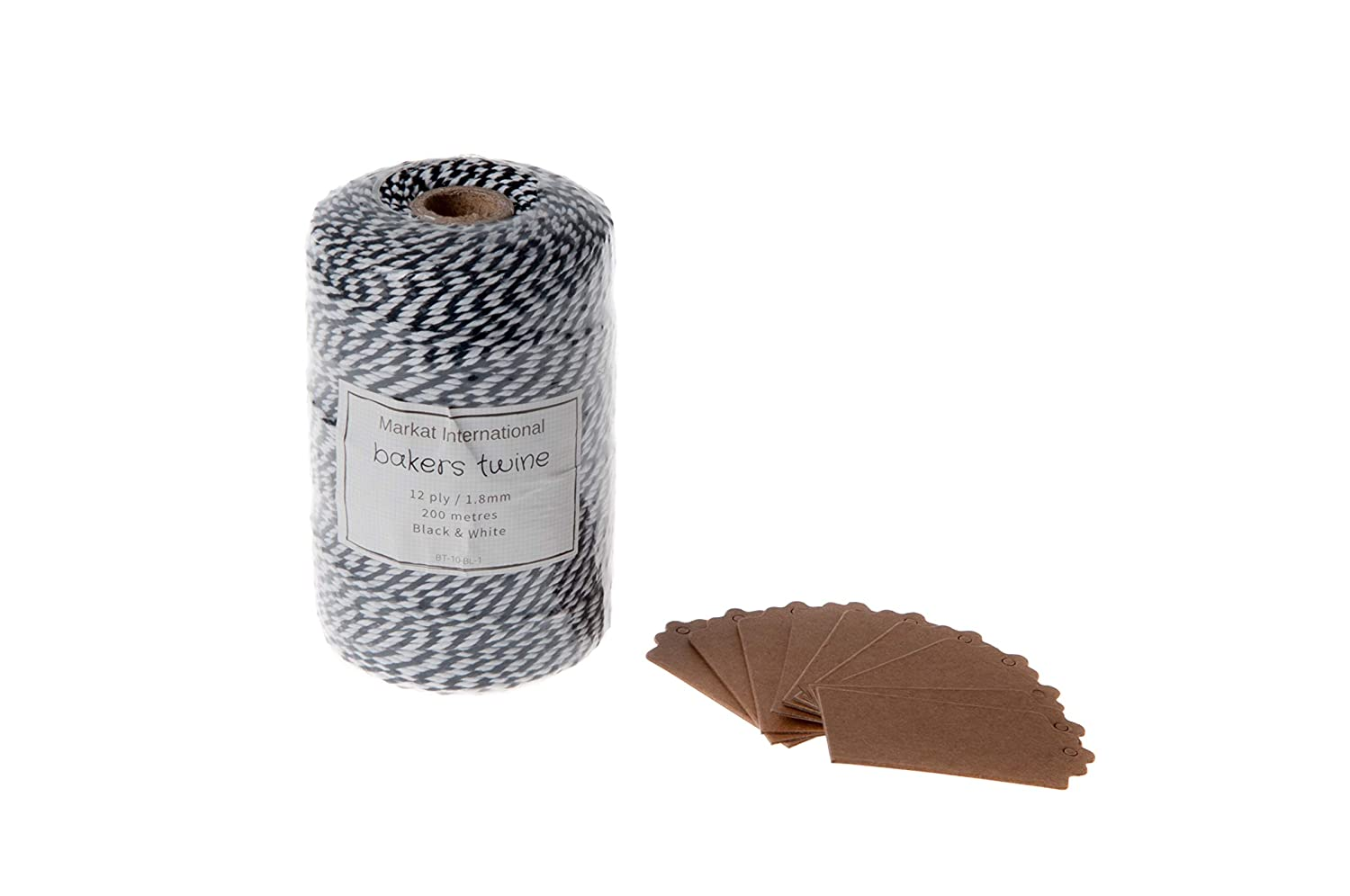 Black and White Bakers Twine Roll in 200 Metres or 656 Feet for Butcher Baking Craft Wrapping and Gardening Comes Complete with 10 Bonus Kraft Gift Tags All by Markat International.