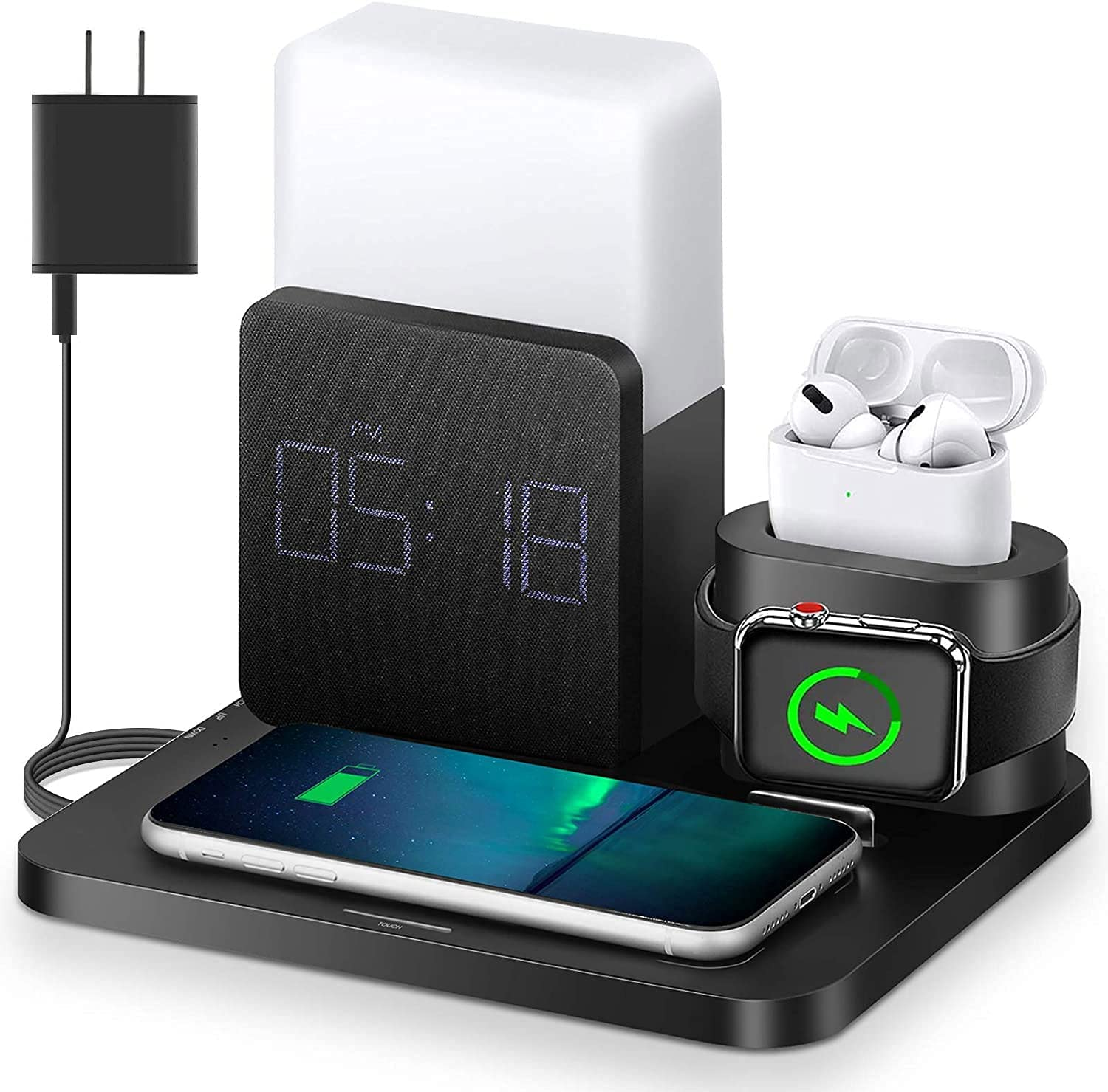 Wireless Charger,3 in 1 Fast Charging Station with Digital Alarm Clock,Night Light,Compatible for Apple Watch iPhone 12, 12 Mini, 12 Pro Max, SE 2020, 11, 11 Pro, AirPods, Galaxy S20