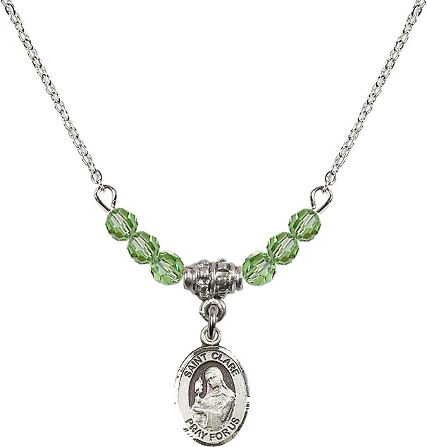 Bonyak Jewelry 18 Inch Rhodium Plated Necklace w// 4mm Green August Birth Month Stone Beads and Saint Clare of Assisi Charm