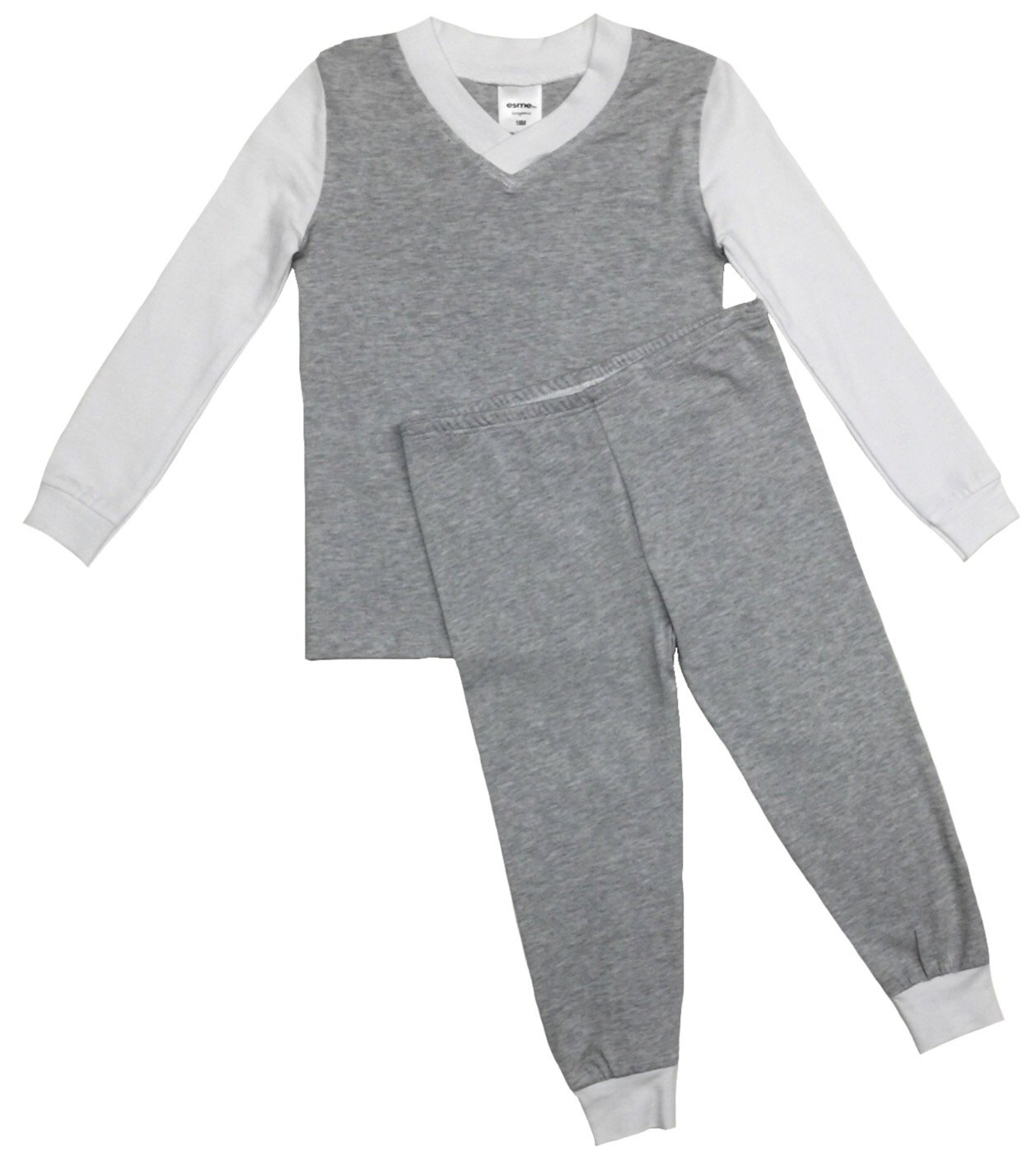 Esme Boys Pajamas Long Sleeve Top & Pant Set 8 Grey / White