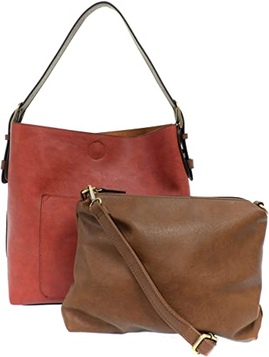Blush Faux Leather Shoulder Bag Tote Hobo with Detachable Straps for Women