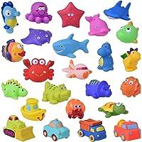 FUN LITTLE TOYS 24 PCs Bath Toys for Toddlers, Sea Animals Squirter Toys Kids, Car Squirter Toys Boys, Bath Toy…