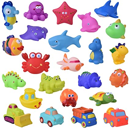 25 PCs Toddler Bath Toys, Sea Animals Squirter Toys for Kids, Car Squirter Toys for Boys, Bath Toy Organizer Included