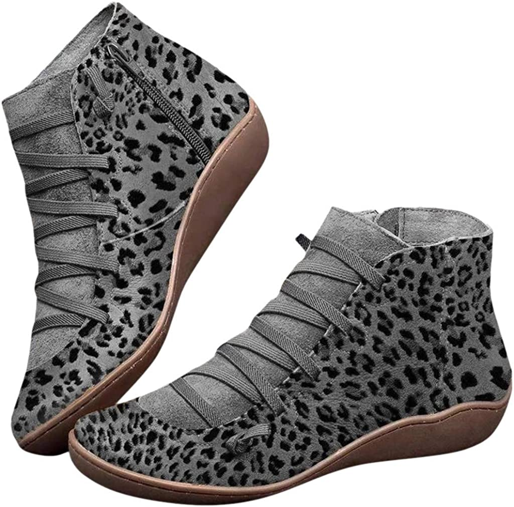 Womens Walking Arch Support Boots Leather Comfort Damping Shoes Retro Side Zip Platform Wedge Booties Casual Shoes