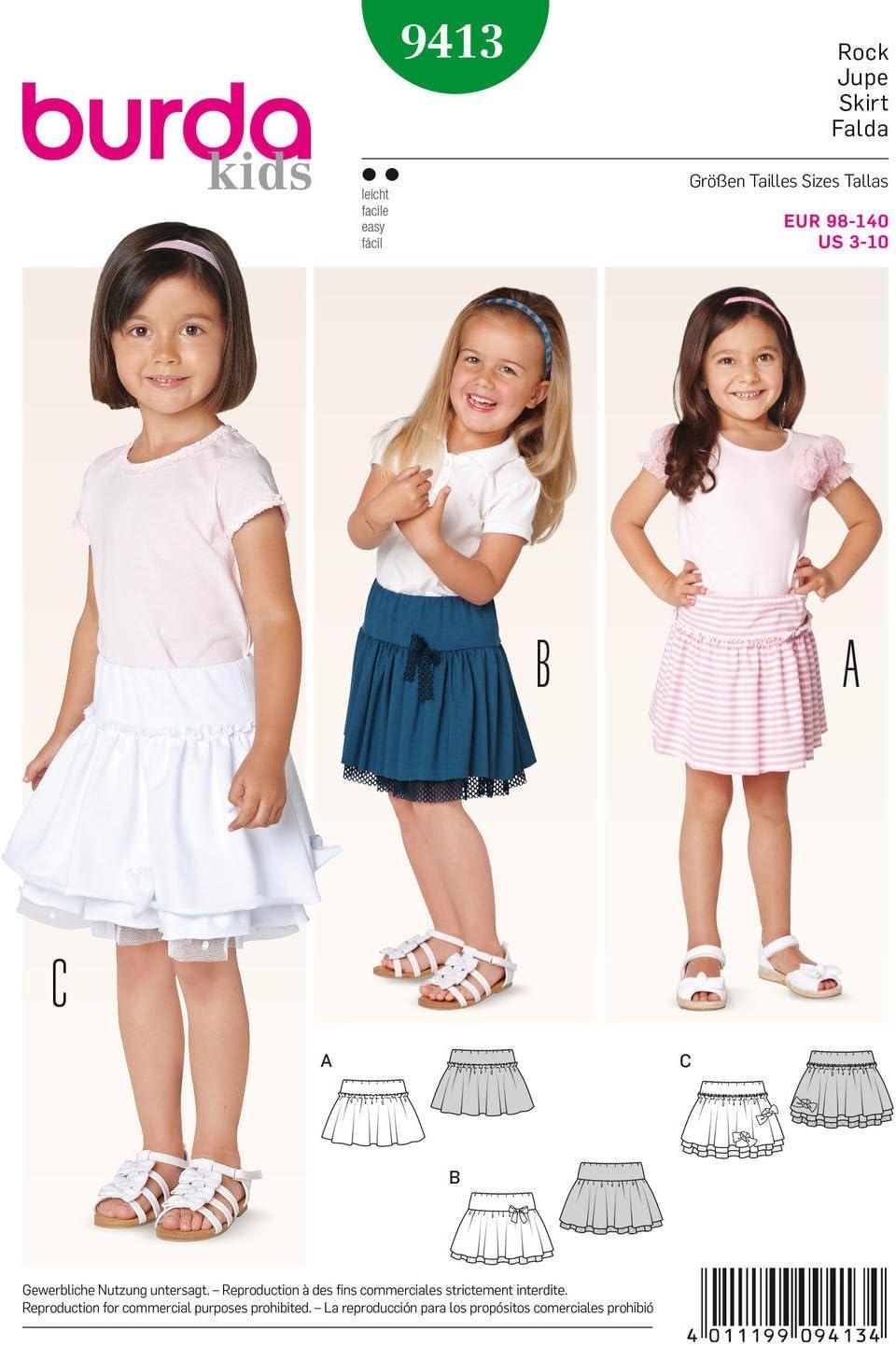 Burda Patrón 9413 Kids Falda para niña: Amazon.es: Hogar