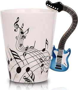 12.9 Oz Guitar Mug Music Note Coffee Mugs Ceramic Guitar Music Cup Mug for Guitar Players Musicians,Blue