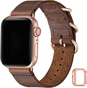Vintage Leather Bands Compatible with Apple Watch Band 38mm 40mm,Genuine Leather Retro Strap Compatible for Men Women iWatch SE Series 6/5/4/3/2/1(Brown+RoseGold Connector, 38mm 40mm)