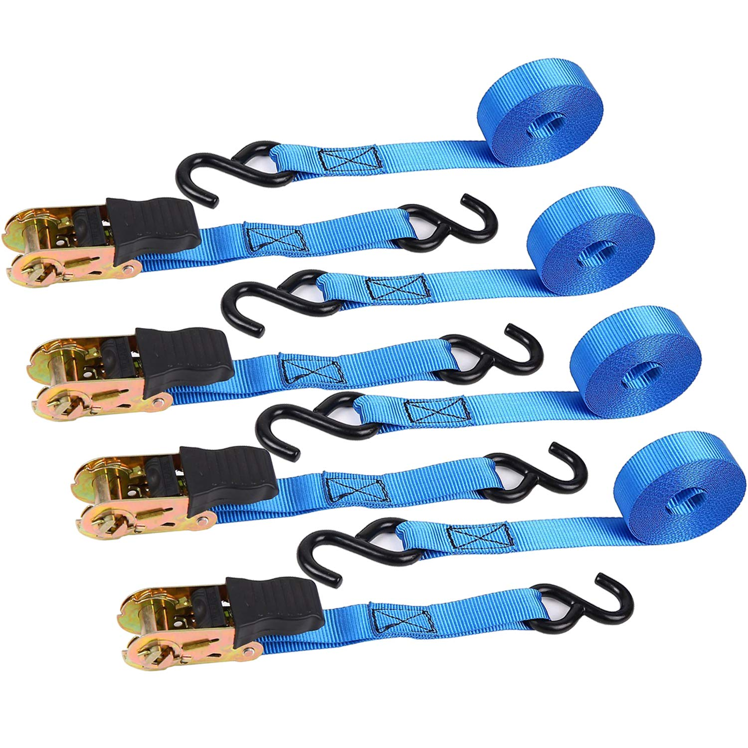 500 Lbs Loatd Cap with 1500lb Breaking Limit Motorcycle 15 Ft Ohuhu 8 Pack Blue Ratchet Strap Cargo Straps for Lawn Equipment Moving Appliances Ratchet Tie Downs Logistic Straps