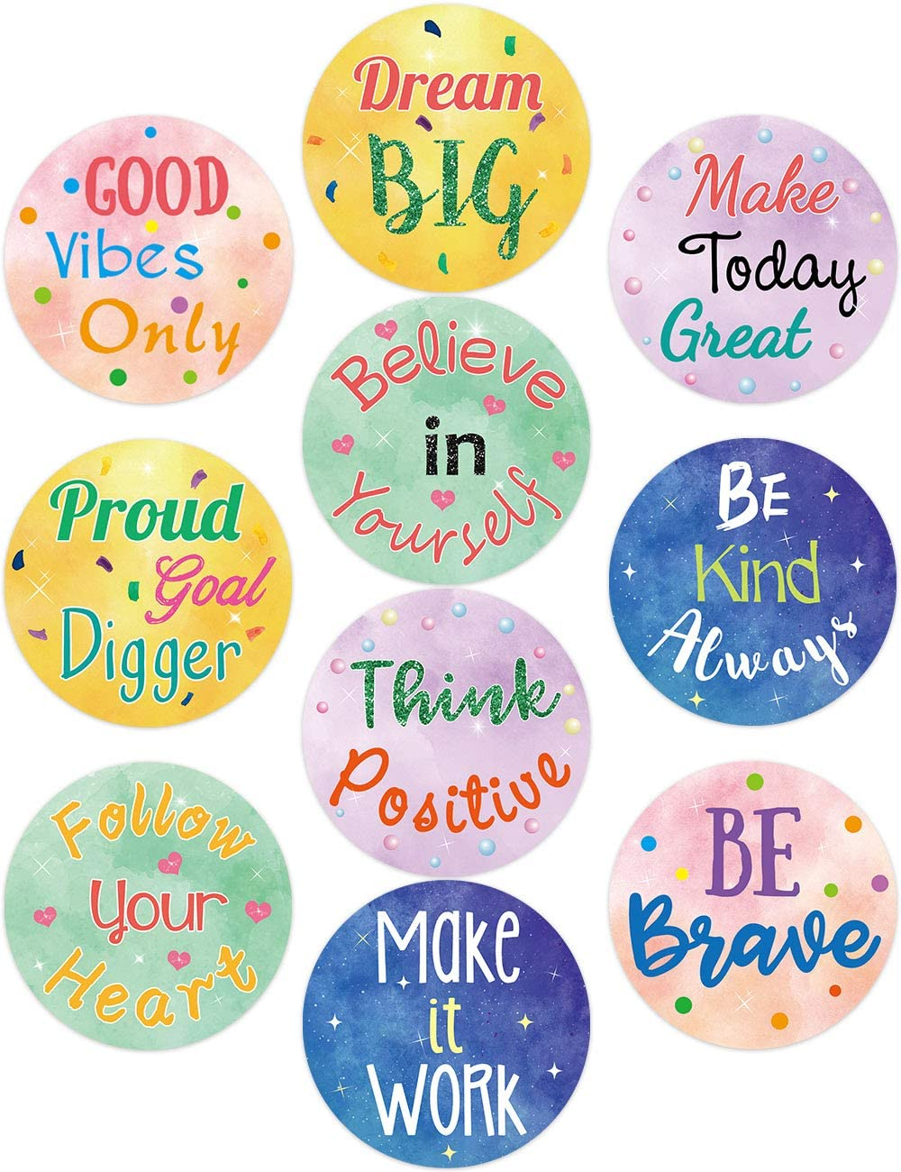 Watercolor Positive Sayings Cutouts Inspirational Classroom Bulletin Board Decoration for School Kids Home Decor