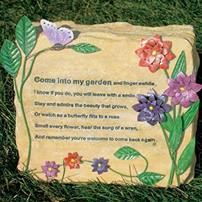 BANBERRY DESIGNS Decorative Garden Stone - Come Into My Garden Quote - Metal Flowers and Butterflies Stands Approx 8.5 Inches Tall : Outdoor Decorative Stones : Garden & Outdoor
