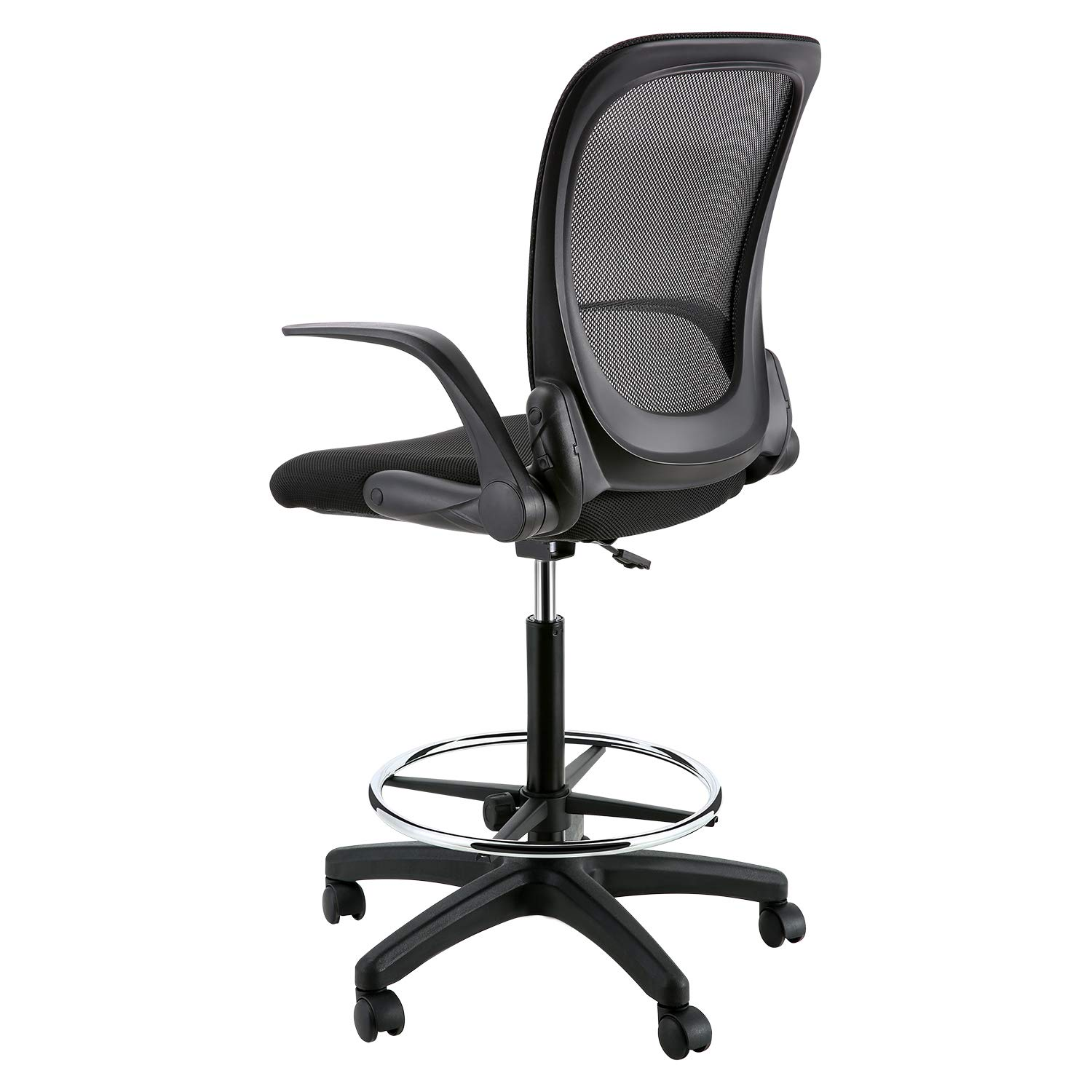 YOUNIS Drafting Chair with Black Fabric Seat, Adjustable Armrest and Foot Ring, Black Breathable mesh backrest, Reception Desk Chair, Tall Office Chair by YOUNIS (Image #5)