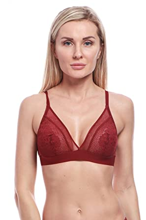 48b67bc2b1d02 BellisMira Unpadded Mesh Lace Unlined Bralette with Embroidered Flower  Applique Strap - Red -  Amazon.co.uk  Clothing