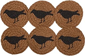 VHC Brands Primitive Tabletop Kitchen Settlement Crow Jute Stenciled Nature Print Round Coaster Set of 6, Mustard Tan Yellow