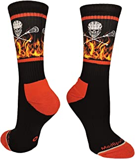 product image for MadSportsStuff Lacrosse Socks with Lacrosse Sticks and Flaming Skull Athletic Crew Socks