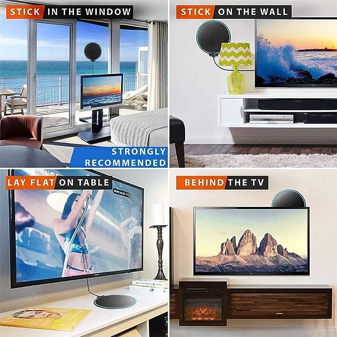 Antena TV Interior, Antena TV portátil HD TV Digital con Amplificador de señal Inteligente para Canales de TV gratuitos Soporte 4K 1080 HD Apto para ...