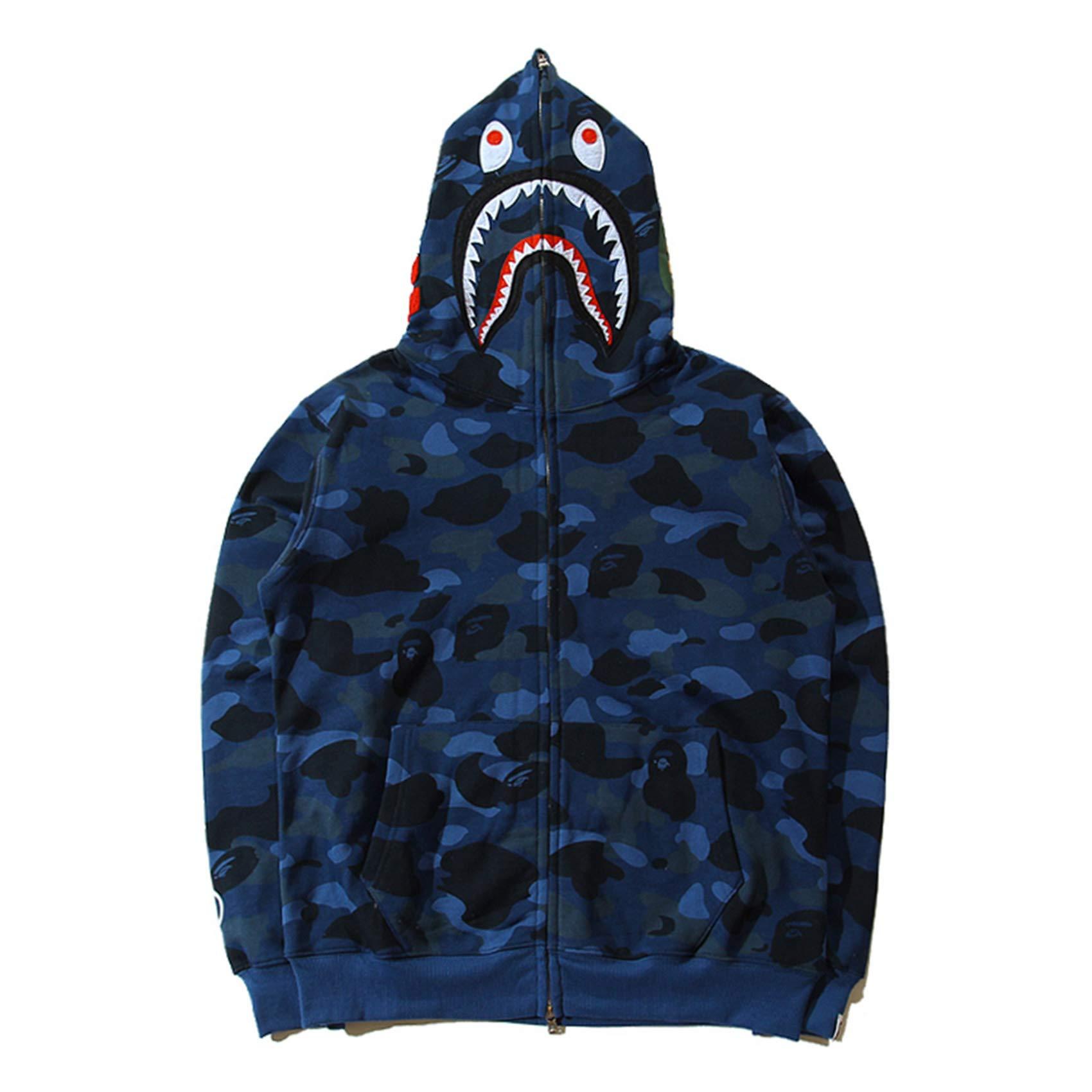 EWW Shark Ape Bape Camo Mens Women Hoodies Sweatershirt Casual Zip Up Hip-Hop Funny Tops