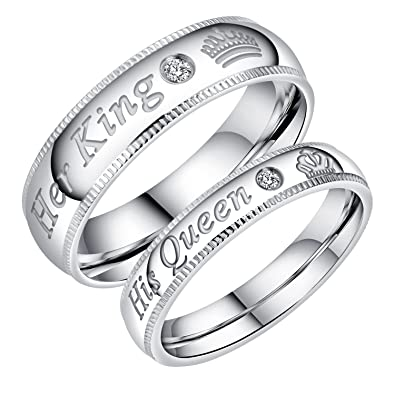 Opk Stainless Steel Her King His Queen Couple Rings Engagement