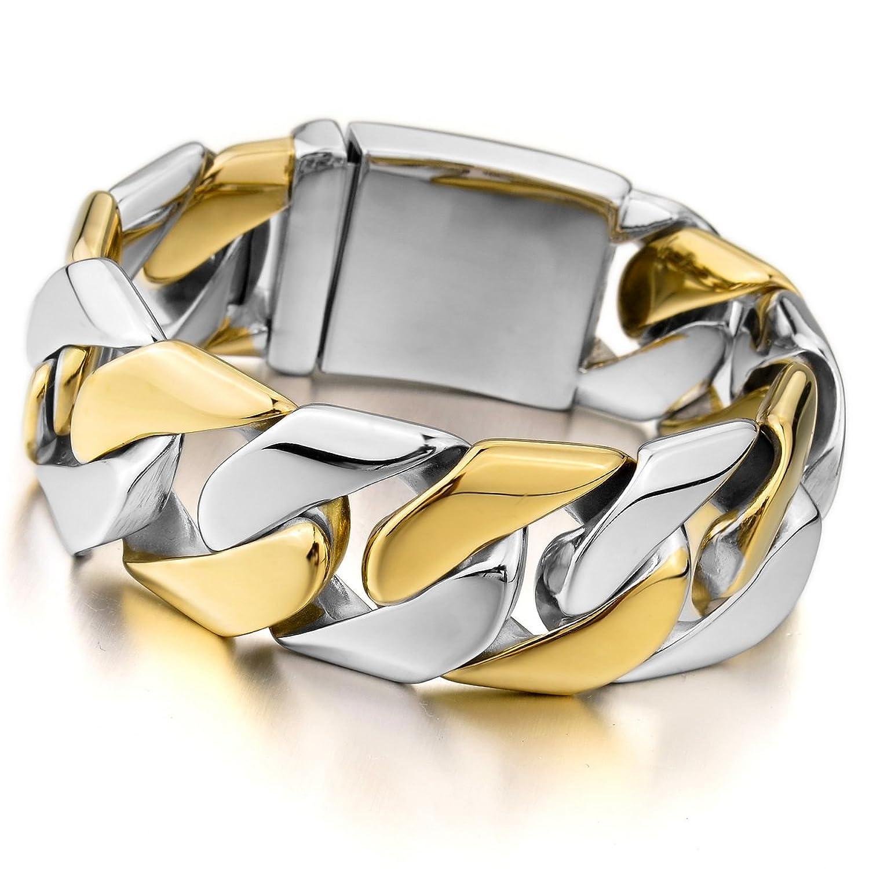 MunkiMix Acero Inoxidable Pulsera Brazalete Eslabones Link Enlace Muñeca Plata Oro Dorado