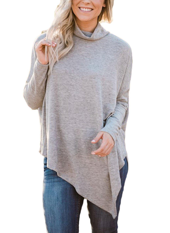 FARYSAYS Women's Casual Long Sleeve Turtleneck Loose Fit Handkerchief Hem Tunic Tops Grey X-Large