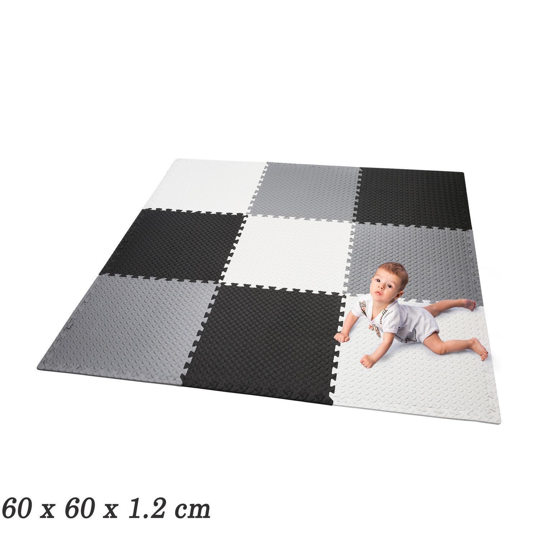 meflying Kid 's Puzzle Play Mat , Foam Non Toxicノンスリップリバーシブルクロールフロアマット遊びマット(再生マット( 60 x 60 x 1.2 CM、米国ストック   B07BC68DZY