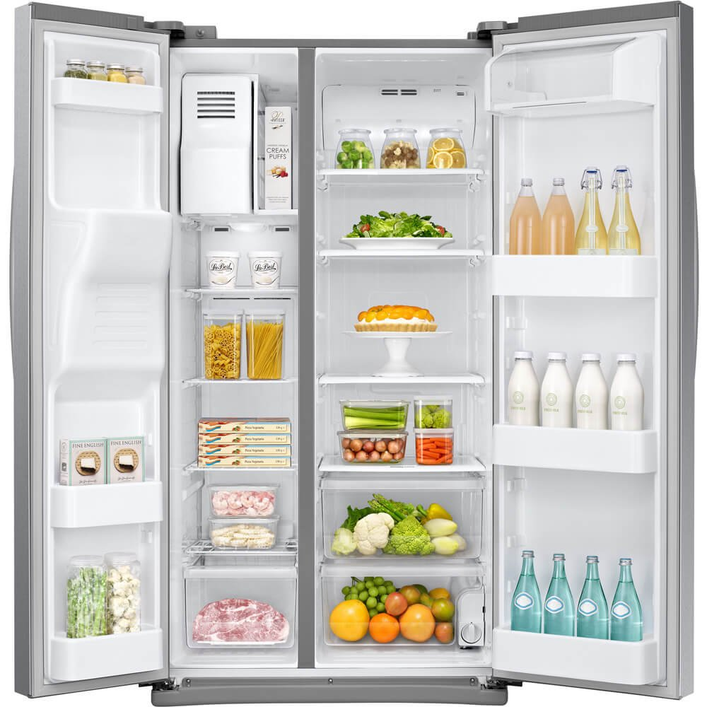 Samsung RS25J500DSR 36 Freestanding Side by Side Refrigerator with 24.52 cu ft Capacity,