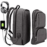 XQXA Computer Backpack, Business Bags with USB Charging Port Anti-Theft Water Resistant School Bookbag for College Travel Backpack for Men/Women Fit Up to 15.6 Inch Laptop and Notebook,Backpack Laptop