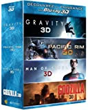 Gravity 3D + pacific rim 3D + man of steel 3D + godzilla 3D - coffret 4 brd 3D + 4 brd (+ copies digitales uv)