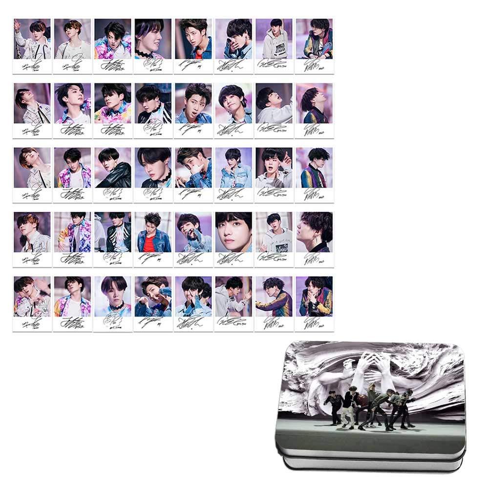 Teblacker 30 Pcs BTS Photo Cards with Iron Box, Kpop Bangtan Boy Jungkook,  Jimin, V, Suga, Jin, J-Hope, Rap Monster Photocards for The Army(Style 08)