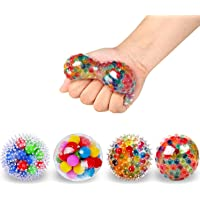 ALMAH Sensory Stress Relief Balls (4 PCS), Stress Squishy Balls with Water Bead, for Kids and Adults to Relax, Focus…