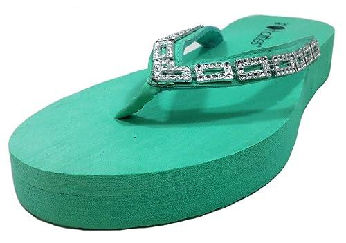 e6f68ba45 Chatties Women s EVA Wedge Sandals with Rhinestone Embellished Upper Mint  Blue - S