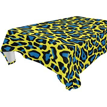 La Random Watercolor Leopard Pattern Yellow And Blue Tablecloth Dining Room  Picnic Table Cloth Washable Table