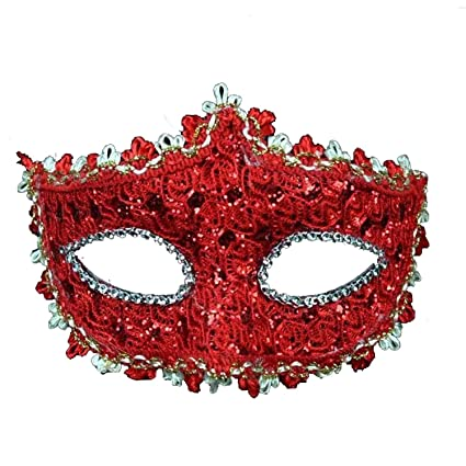 PuTwo Mascarada Máscara para Las Mujeres de Encaje con Rhinestone Veneciano Traje de Mujer Suministros para Fiestas - Rojo