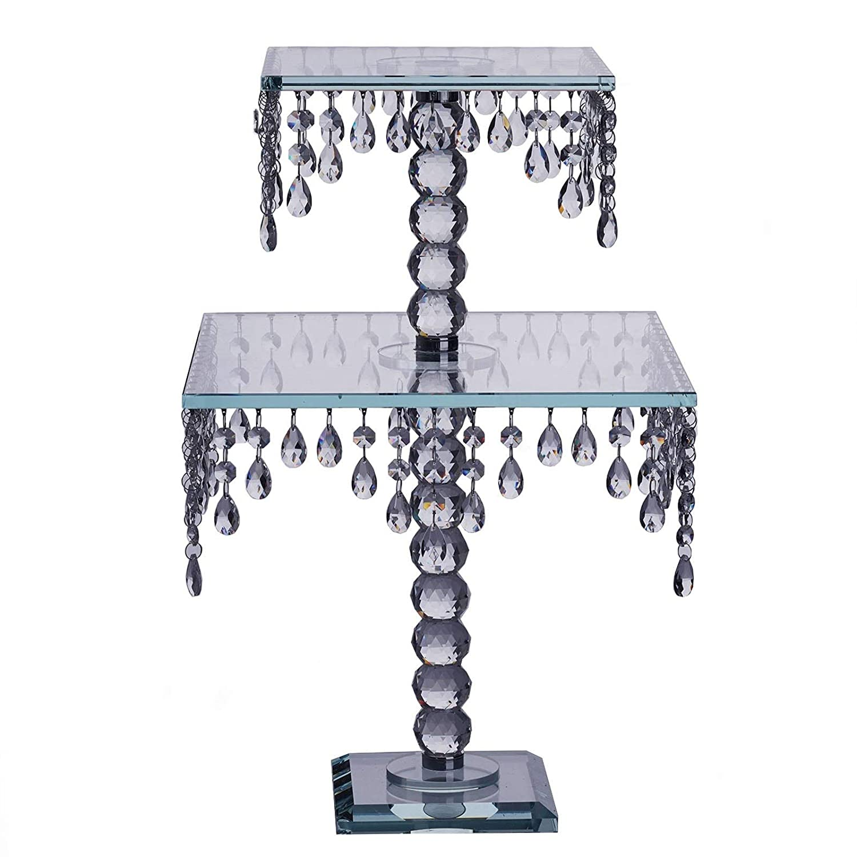 tableclothsfactory 21」手作りRealクリスタルガラスシャンデリアウェディングケーキライザーSquareスタンド/ウェディングCenterpiece   B07DQ9BTDZ