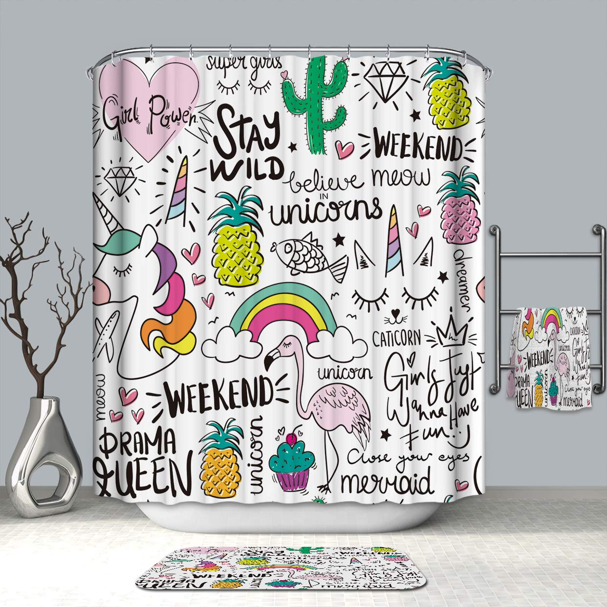 """Ezlif Unicorn Rainbow Home Decor Shower Curtain, 70"""" x 70"""" Polyester Waterproof Mildew Resistant Bathroom Shower Curtains Liner with 12 Rust Proof Hooks"""