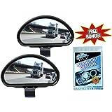 Clear Zone Blind Spot Mirror - Set of 2 w/ Bonus Headlight Restoring Wipes - Original As Seen on TV