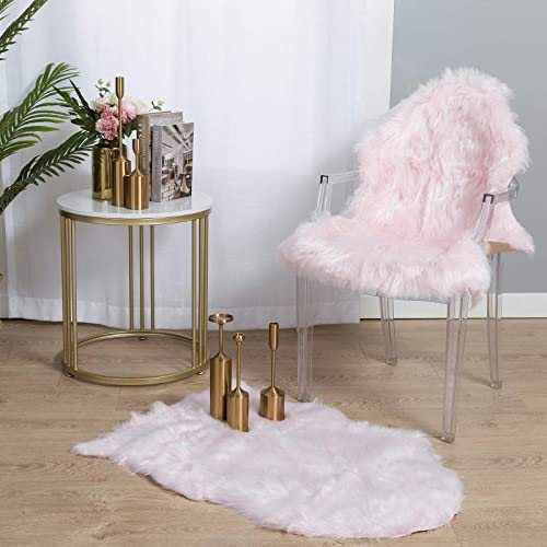 Carvapet 2 Pieces Soft Fluffy Faux Fur Plush Chari Couch Cover Sheepskin Area Rug Bedroom Living Room 2 x 3 Feet,Baby Pink